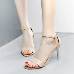 Kvinnor Glittrande Glitter Stilettklack Sandaler Pumps Peep Toe med Strass Glittrande Glitter Spänne skor