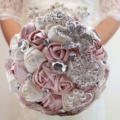 Fascinating Round Satin Bridal Bouquets