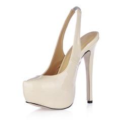 Women's Patent Leather Stiletto Heel Platform Pumps Slingbacks