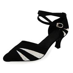 Women's Sparkling Glitter Nubuck Heels Pumps Modern With Ankle Strap Dance Shoes