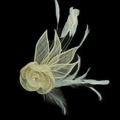 Pretty Net Yarn/Feather Flowers & Feathers