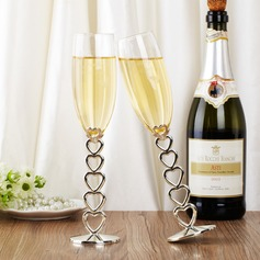 Personalized Heart design Glass/Aluminum Toasting Flutes (Set of 2)