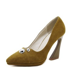Women's Suede Chunky Heel Pumps Platform Closed Toe With Rivet shoes