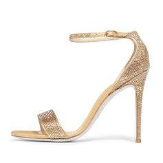 Women's Suede Stiletto Heel Sandals With Rhinestone shoes