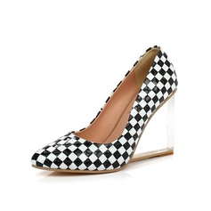 Patent Leather Wedge Heel Pumps Closed Toe schoenen