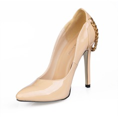 Patent Leather Stiletto Heel Pumps Closed Toe With Chain shoes