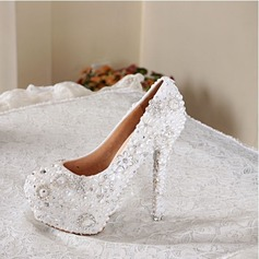 Women's Real Leather Stiletto Heel Closed Toe Pumps With Imitation Pearl Jewelry Heel