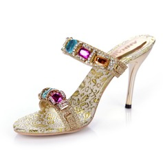 Sparkling Glitter Stiletto Heel Sandals Slingbacks With Rhinestone shoes