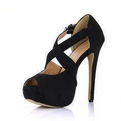 Suede Stiletto Heel Sandals Platform Peep Toe With Buckle shoes