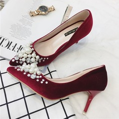 Women's Suede Stiletto Heel Pumps Closed Toe With Crystal Imitation Pearl shoes