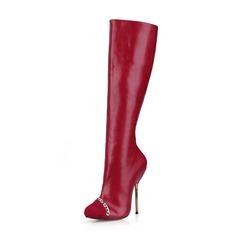 Vrouwen Suede Kunstleer Stiletto Heel Pumps Closed Toe Knie Lengte Laarzen met Keten schoenen