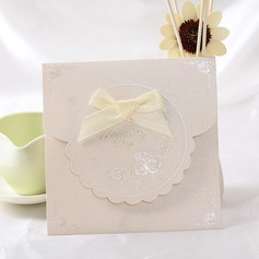 Klasik Stil Top Katlama Invitation Cards Ile Saten Kurdele