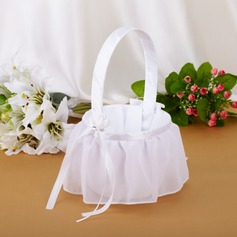 Elegant Flower Basket in Chiffon With Ribbons