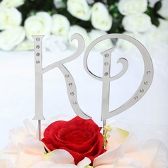 Monogram Chrome Wedding Cake Topper