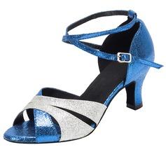 Women's Sparkling Glitter Heels Sandals Latin Dance Shoes