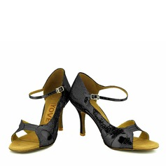 Women's Leatherette Heels Latin With Buckle Hollow-out Dance Shoes