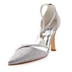 Šumivá Glitter Stiletto Heel Uzavřená Toe Lodičky Svatební obuv S Drahokamu