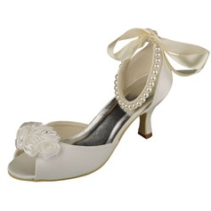 Women's Satin Spool Heel Peep Toe Pumps With Imitation Pearl