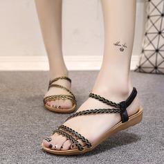 Women's Leatherette Wedge Heel Sandals Peep Toe Slingbacks With Braided Strap Split Joint Elastic Band shoes