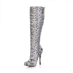 Vrouwen Kunstleer Stiletto Heel Closed Toe Laarzen Knie Lengte Laarzen met Gesp Dier Afdrukken Rits schoenen