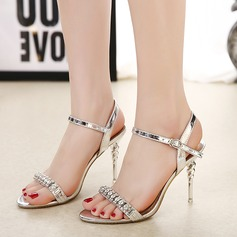 Women's PU Stiletto Heel Sandals Pumps With Rhinestone shoes