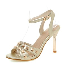 Women's Leatherette Stiletto Heel Sandals Peep Toe With Rivet shoes