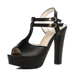 Women's Leatherette Chunky Heel Sandals Pumps Platform Peep Toe shoes