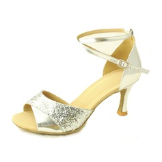 Women's Leatherette Sparkling Glitter Heels Pumps Latin With Ankle Strap Dance Shoes