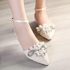 Women's Leatherette Flat Heel Closed Toe Sandals Slingbacks With Buckle Imitation Pearl Rhinestone Stitching Lace