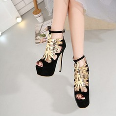 Women's Suede Stiletto Heel Sandals Pumps With Chain shoes
