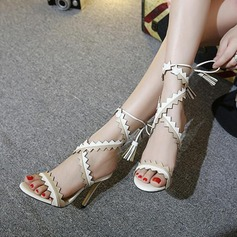 Women's Leatherette Stiletto Heel Sandals Peep Toe Slingbacks With Lace-up shoes