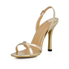 Frauen Lackleder Stöckel Absatz Sandalen Slingpumps Schuhe