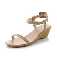 Donna Vera pelle Zeppe Sandalo Con cinturino scarpe