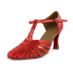 Donna Finta pelle Glitter scintillanti Tacchi Stiletto Moderno con Con Listino a T Scarpe da ballo