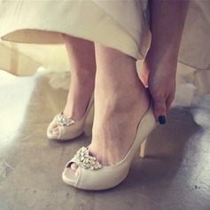 Women's Real Leather Stiletto Heel Peep Toe Platform Beach Wedding Shoes With Rhinestone