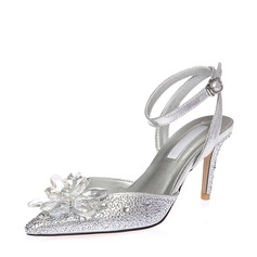 Women's Microfiber Leather Stiletto Heel Sandals Beach Wedding Shoes With Buckle Flower