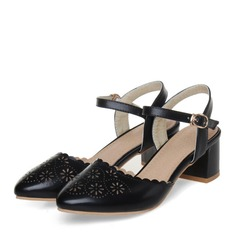 Femmes Similicuir Talon bottier Sandales Bout fermé avec Boucle Ouvertes chaussures