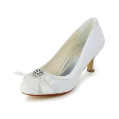 Women's Sparkling Glitter Cone Heel Closed Toe Pumps With Bowknot Rhinestone