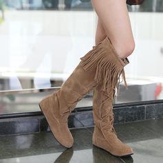 Vrouwen Suede Flat Heel Flats Closed Toe Knie Lengte Laarzen schoenen