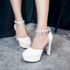 Women's Leatherette Stiletto Heel Pumps Platform Closed Toe With Chain shoes