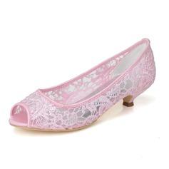 Women's Lace Kitten Heel Peep Toe Pumps