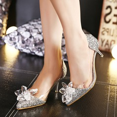 Women's Leatherette Sparkling Glitter Stiletto Heel Closed Toe Pumps With Rhinestone
