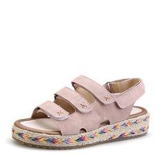 Femmes Vrai cuir Talon plat Sandales À bout ouvert Escarpins avec Ouvertes Velcro chaussures