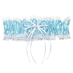 Gorgeous Satin Lace With Ribbons Rhinestone Wedding Garters