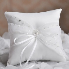 Lovely Ring Pillow in Satin/Cotton With Ribbons/Beading