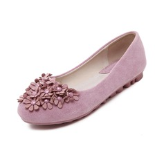 Women's Suede Flat Heel Flats Closed Toe With Flower shoes