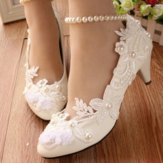Women's Leatherette Low Heel Closed Toe Pumps With Imitation Pearl Stitching Lace Flower Lace-up Chain