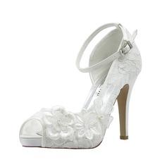 Women's Lace Stiletto Heel Peep Toe Pumps With Rhinestone