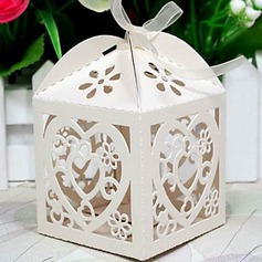 Heart Shape Laser Cut Cubic Favor Boxes With Ribbons (Set of 12)