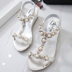 Women's Leatherette Wedge Heel Flats Sandals Beach Wedding Shoes With Imitation Pearl